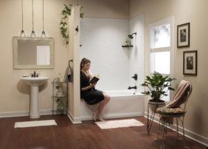 White 12 x 12 sim tile w white Contour tub and Oil Rubbed Bronze Fixtures model reading novel