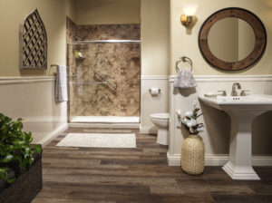 Santa Cruz Smooth walls with Liquid Accents brushed nickel Bypass Slider door Almond Shower Base, wainscot and baseboards