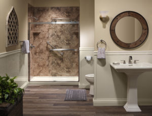 Santa Cruz Smooth walls with Cayan brushed nickel Double Slider Barn door Almond Shower Base, wainscot and baseboards wide shot